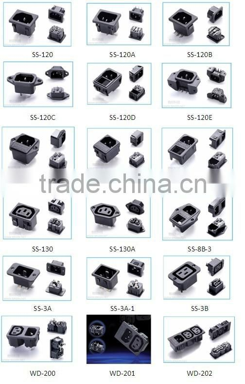 New product 2016 alibaba China wholesales,Screw on IEC 320 C14 male connector switched socket