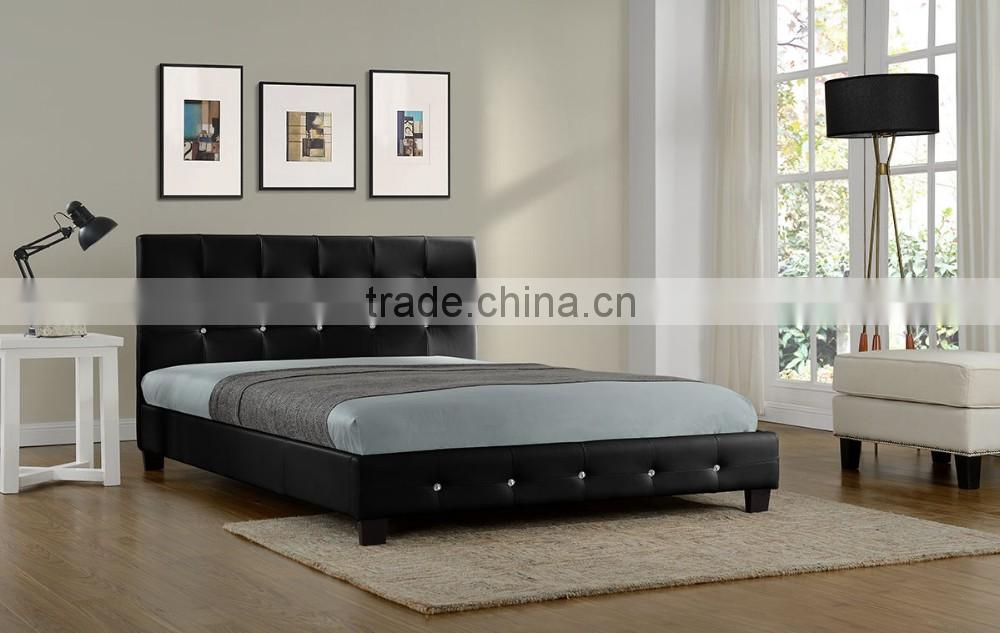 High Back Hotel King Size Bed Cow Leather Bed Black New Designed Good Quality Modern Designed Couple Bed