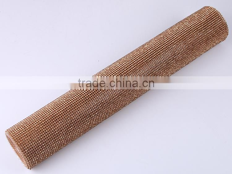 Hot Fit 24 Rows Gold Bling Bling Adhesive Crystal Aluminum Rhinestone Mesh