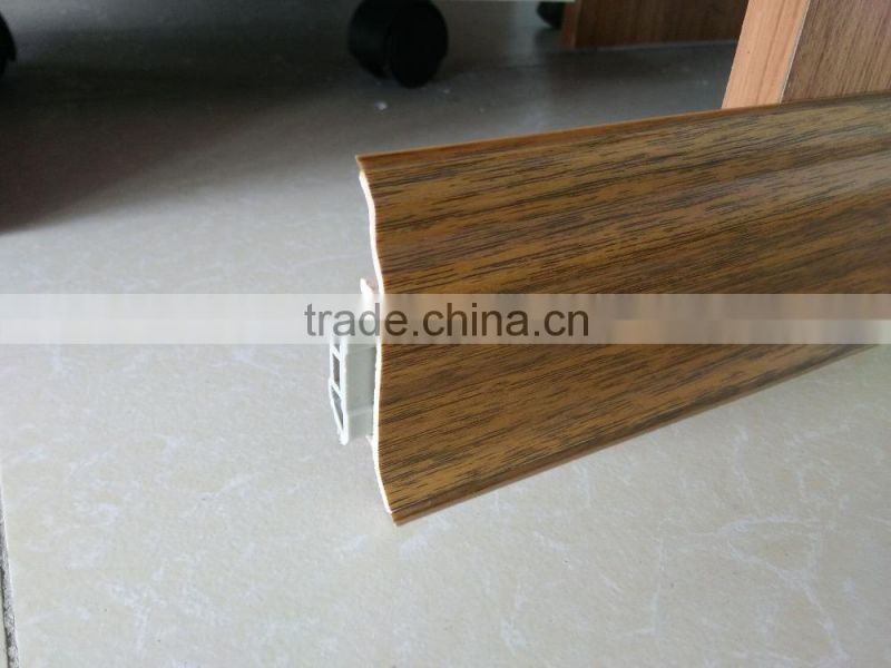 Longsun brand wood grain pvc coating foam skirting board roll for interior decoration