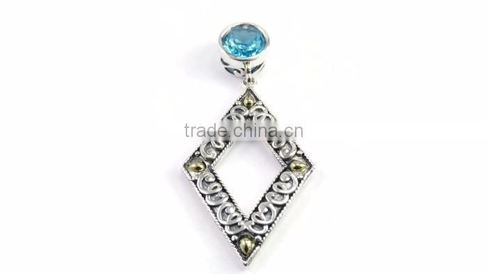 925 sterling silver swiss blue topaz gemstone slide pendant with 18k gold accents