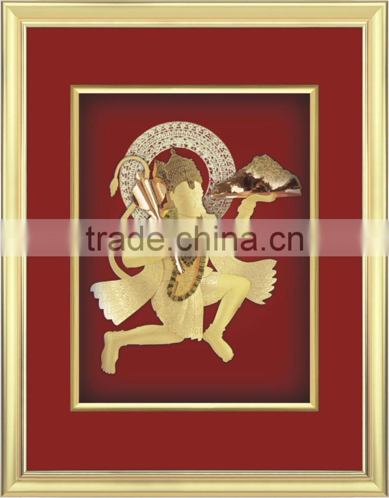 High Quality 24k Gold foil Indian god with frame