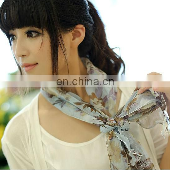 printing bandana,Min order $15 Free Shipping Female spring and summer silk scarf bandanas belt package decoration chiffon print