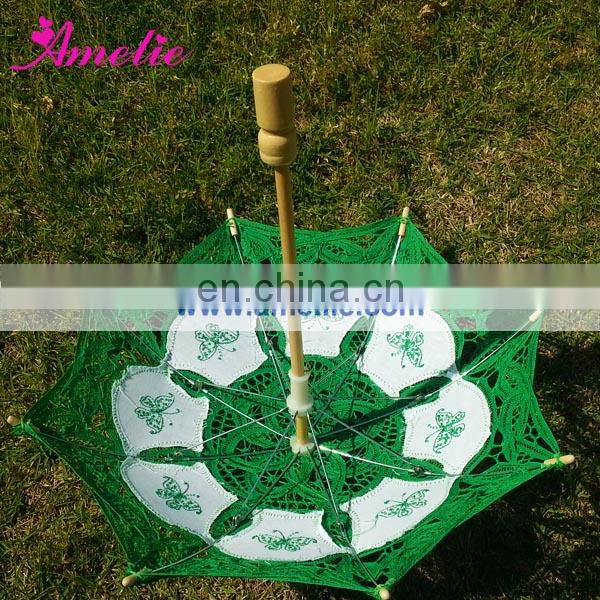 Green small lace parasol umbrella with butterfly emboridery
