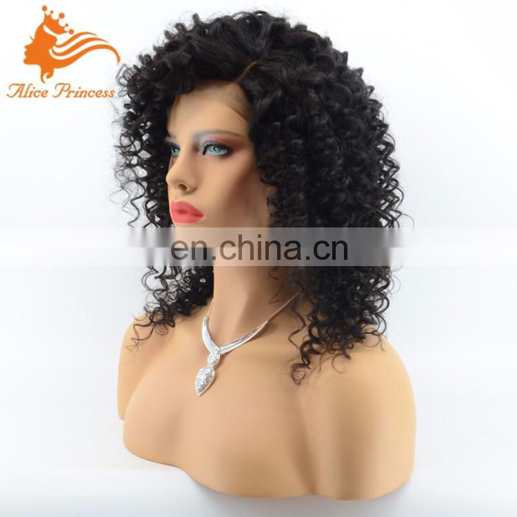 Glueless Wholesale Human Hair Full Lace Front Wig Bleached Knots Virgin Brazilian Hair Deep Curly Side Part Lace Wig
