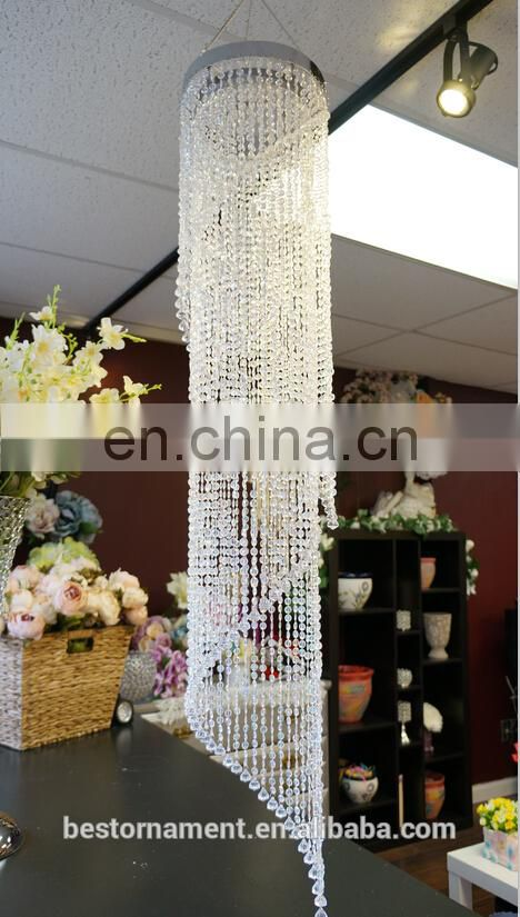 "48""long Spiral Beaded Chandelier for wedding decoration"