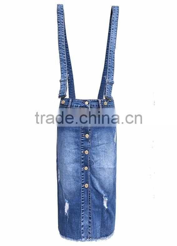 girls fashion women elastic straps skinny ripped front button denim jeans suspender skirt