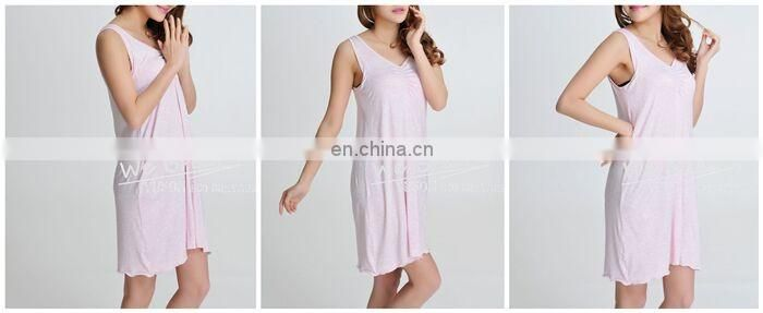 Ladies 95%Bamboo 5%Spandex Sleeveless Melange Color Nightwear Padded Pajamas