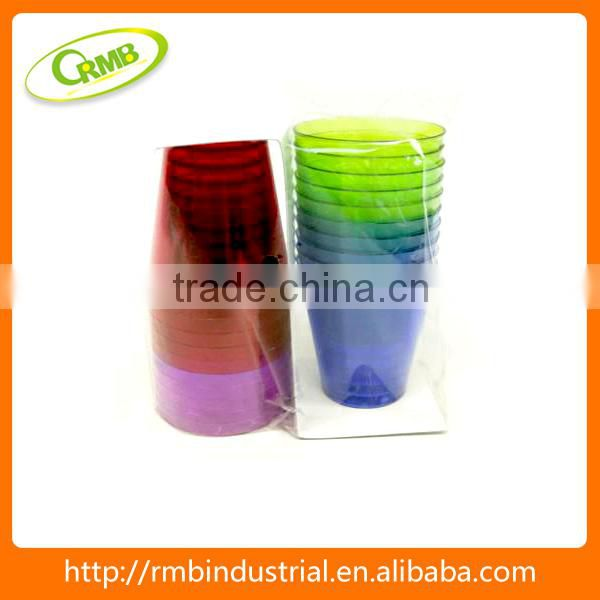 Wholesales colorful water cups clear hard plastic cups