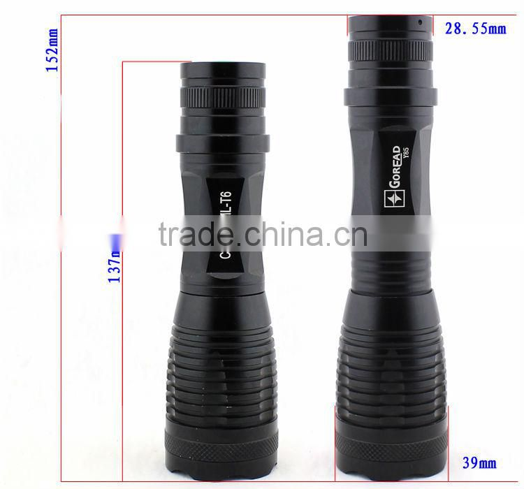 GOREAD Y85 focusable and rechargeable 5 mode aluminum T6 LED torch