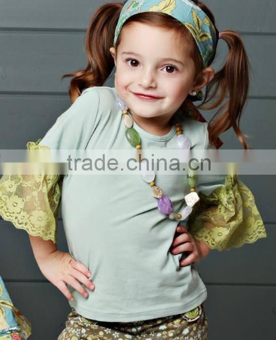 New organic 95% Cotton 5% Spandex best selling Blank white ruffles kids t shirt wholesale