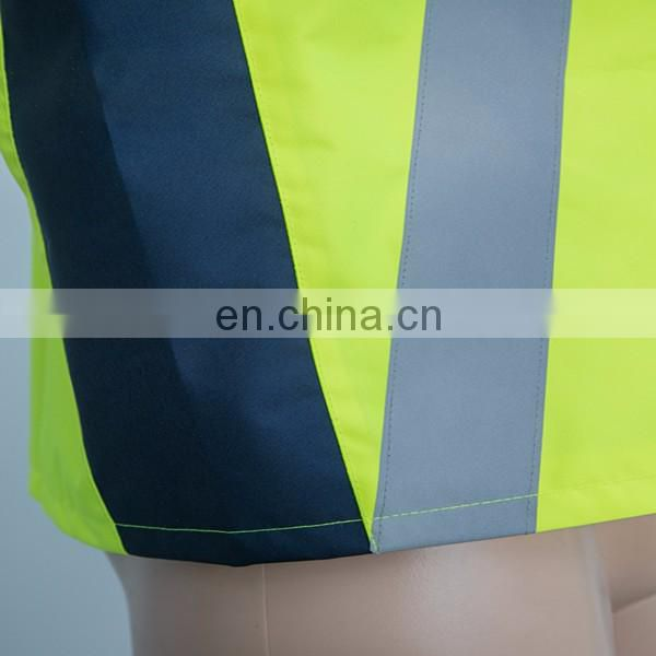 Custom oxford fabric fluorescent yellow reflective sleeveless jacket
