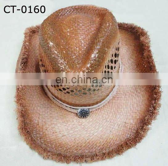 Blue paper straw Cowboy Hat