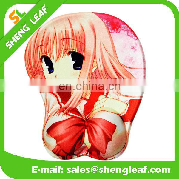 Hot selling cartoon design soft skin mouse pad with wrist rest
