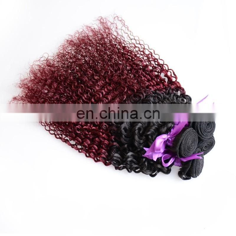 Ombre two tone color hair bundles color 1/red deep wave hair remy peruvian human hair extensions