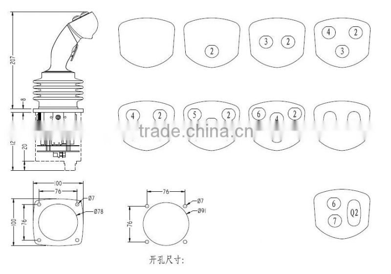 YJ02 industrial handle joystick controller of Joystick from China