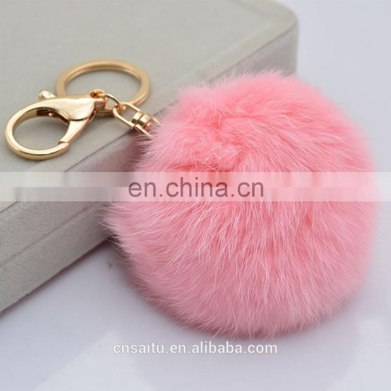 Rabbit Fur Pompom Keyring Pompom Keychain 8cm Charm Tan Blonde Chocolate