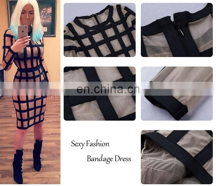 bandage long sleeve designer one piece paty dresses , sexy bodycon woman fashion latest dress designs