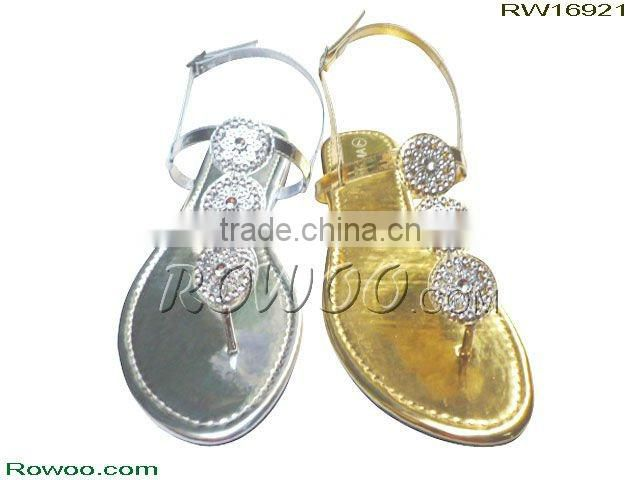 RW16921 flat lady sandals with diamond
