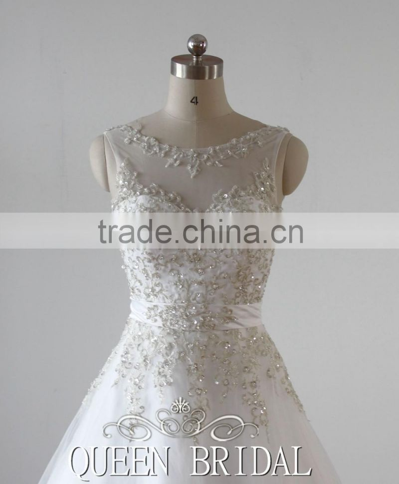 QUEEN BRIDAL Real Photos Ball Gown Tulle Embroidery Designs for Wedding Dress Sale