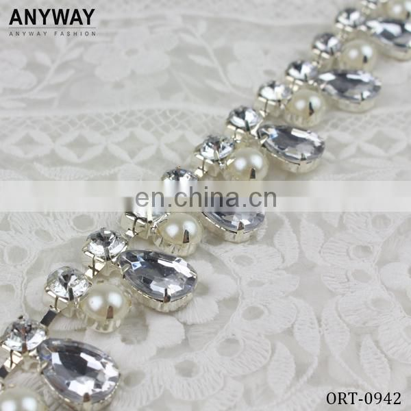 2016 Metal Bridal Beaded Trimming Rhinestone Trimming Beaded Fringe