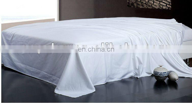 Hotel plain 100% cotton white 400 thread count bed sheet