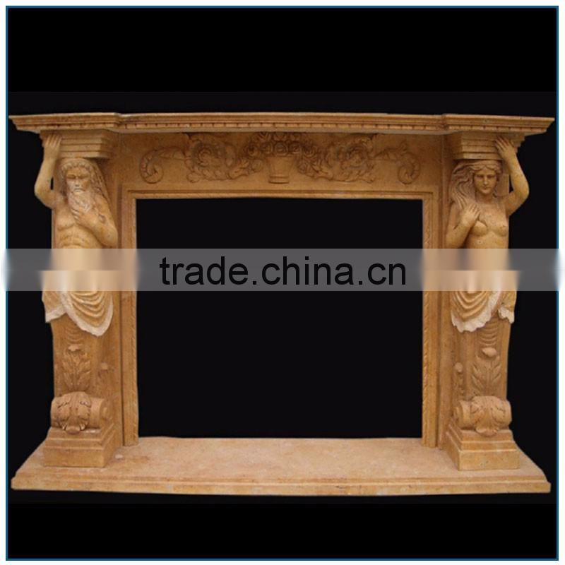Indoor Antique Religious Stone Fireplace Mantel for Sale with Nude Man and Woman