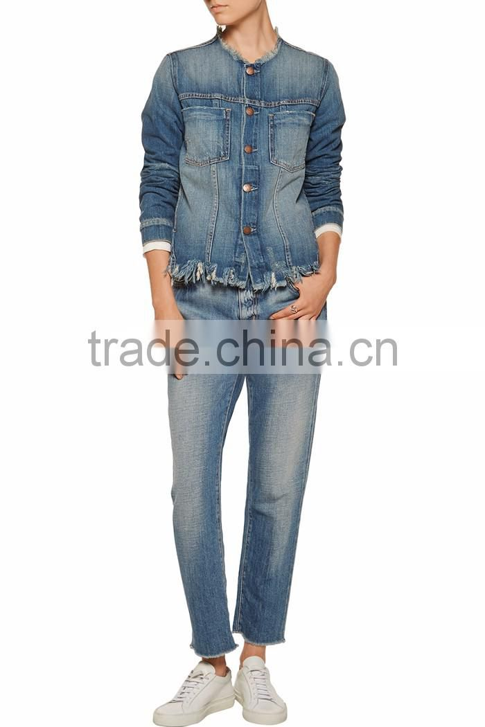 63deb187c2 Buttons Cut Off frayed denim jacket two pockets women denim fabric jacket  long sleeve lady winter