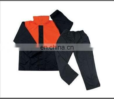 a set of red and black High visibility rainwear work wear