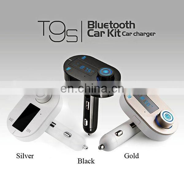 Wholesale T9S Handsfree Car Kit Bluetooth MP3 Player with FM Transmitter and USB Charging Port