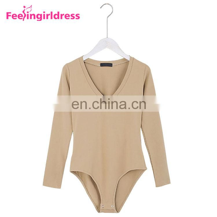 Fashion Autumn Khaki Long Sleeve Winter Thong Bodysuit Jumpsuit Fancy Romper