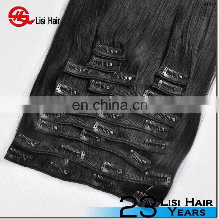 cheap stock 100% human hair indian remy hair one piece clip in human hair extension