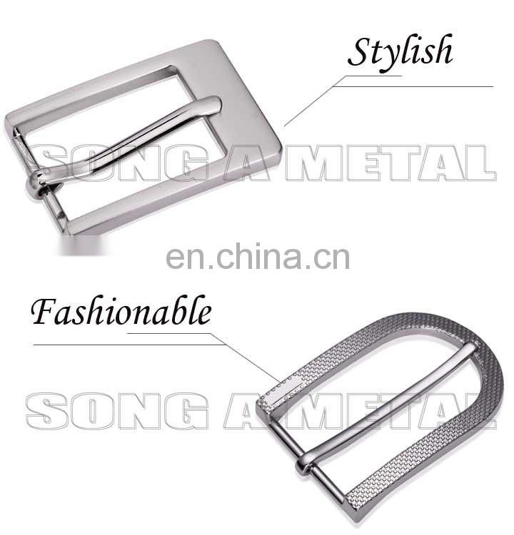 Song A Metal snap on belt buckle press lock belt buckle brushed nickel waist buckle