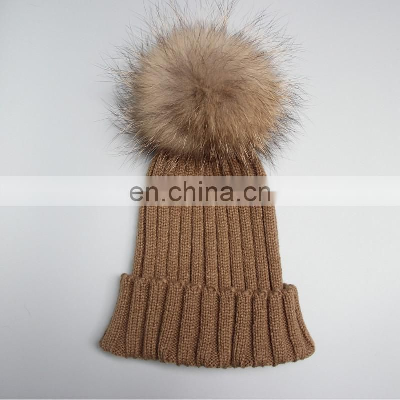 Classical style men women winter pompon hats for girl wholesale China