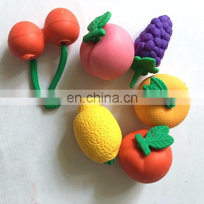 3-D Fruit Shaped Erasers -6 pack