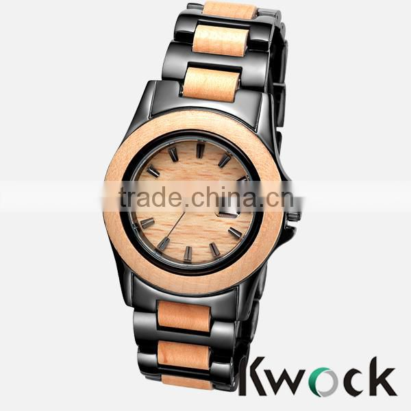 Kwock High quality OEM Bewell brand fashion alloy wooden watch