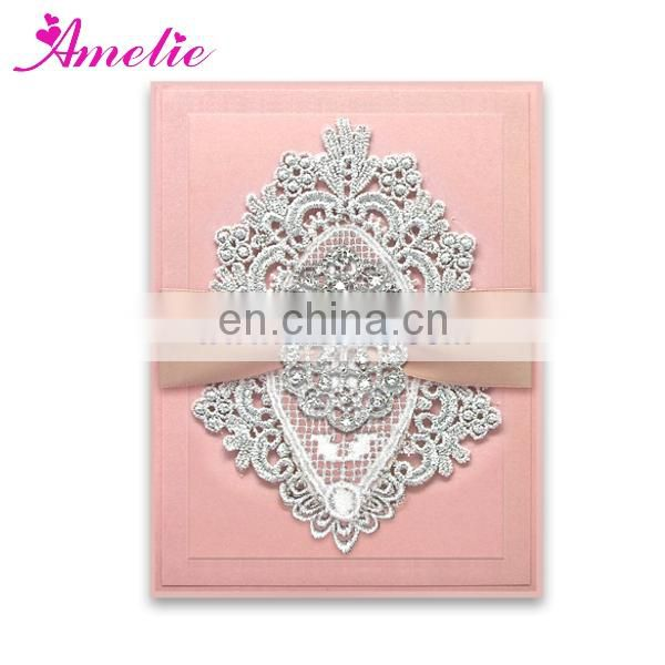 AC139 Pink Color With Good Quality Wedding Card Invitation