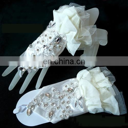 Korean Customed Lady Ivory Satin Wrist Length Fingerless Wedding Gloves Embroidery & Rhinestone With Tull &Cloth Stretch Gloves