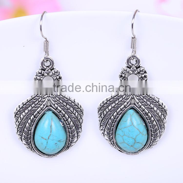 wholesale fashion vintage resin acrylic kallaite beatles style bali jewelry 925 thailand silver gypsy earring