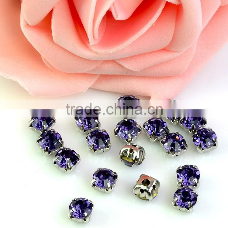 Jewellery Sewing Stones with metal claw, sew on facet glass beads with 4 holes for dress making
