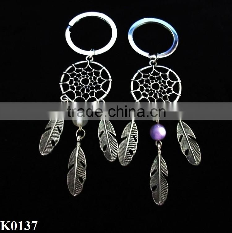 New Fashion Gift Colorful Beads Dreamcatcher Net Alloy Keychian Dream Catcher Key Chain Women Vintage Unique Style Keychain K013