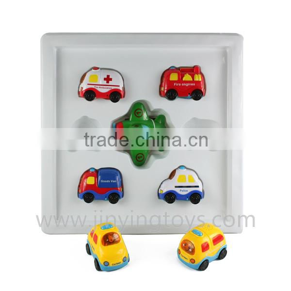 6pcs pull back plastic mini toy car and plane with light and music