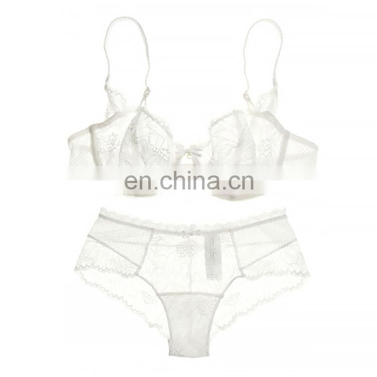 Women Embroidery Bra Hollow Out See Though Lace Bra and Panties Sets Sexy Lingerie Lace Underwear A B C D Cup