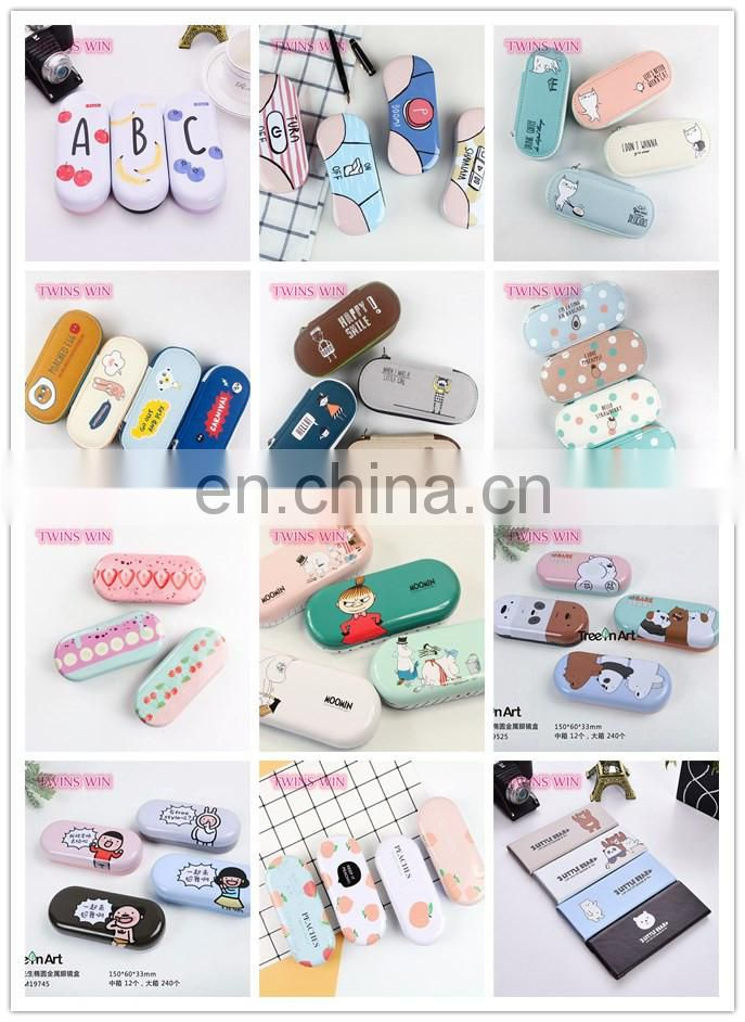 Small moq Free samples customize high quality kids fashion cartoon cute design metal eyeglass case bag