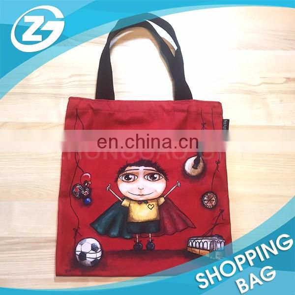 Creative Full Colors Image Sublimation Printing Cheap Promotion Red Eco Polyester Canvas Cotton Handbags