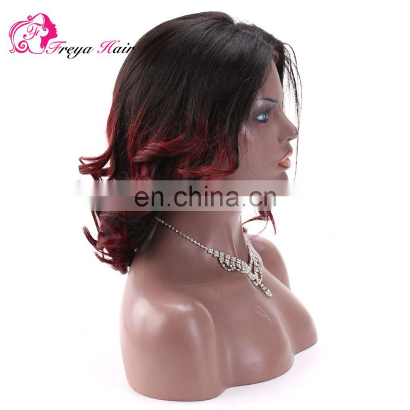 Hot Selling Fashion Short Bob Wig Burgundy Hair Omber Color Wigs 100% Human Hair Virgin Brazilian Lace front Wig With Bangs