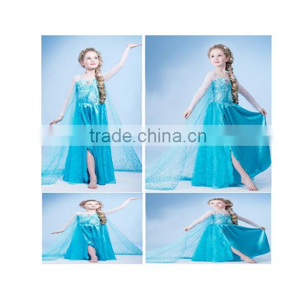 Instyles fashion Cheap wholesale cheap Wholesale new frozen elsa cosplay costume girls dress short sleeve sequi