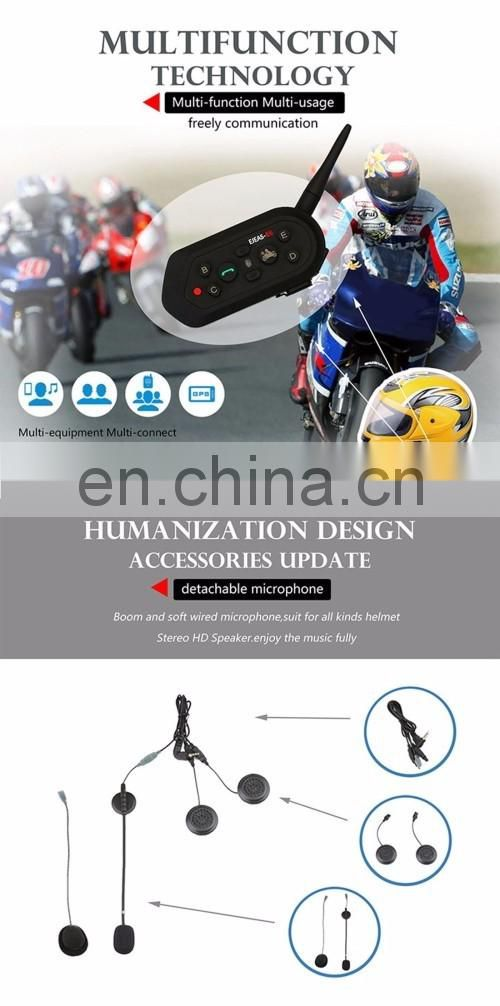 2 PCS E6 1200m Interphone Headsets for Motorcycle Helmet