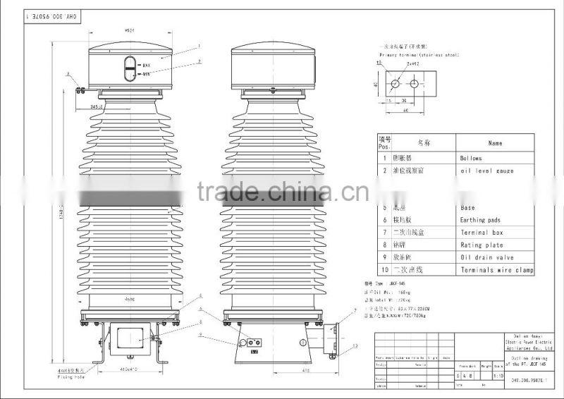 132kv voltage transformer for substation of voltage transformer from