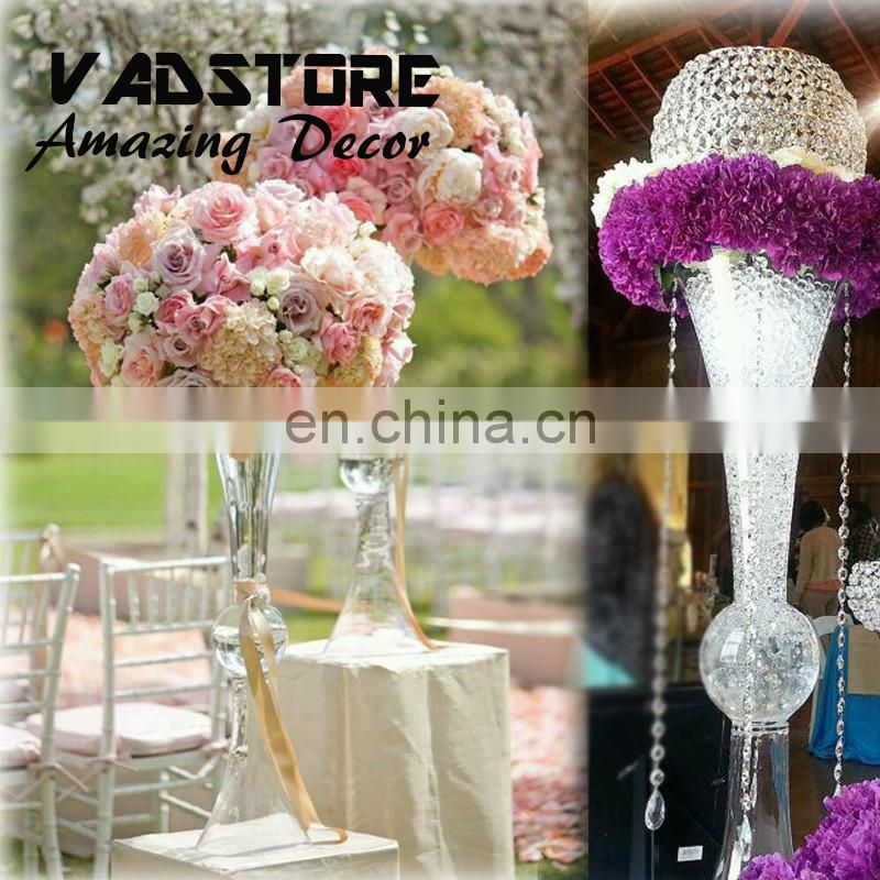 "30"" headstand white plated trumpet glass vase wedding table centerpiece flower holder centerpiece"
